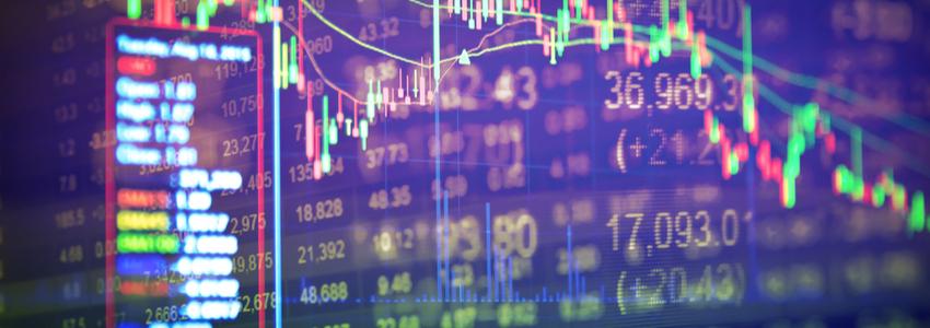 Screen showing economic data